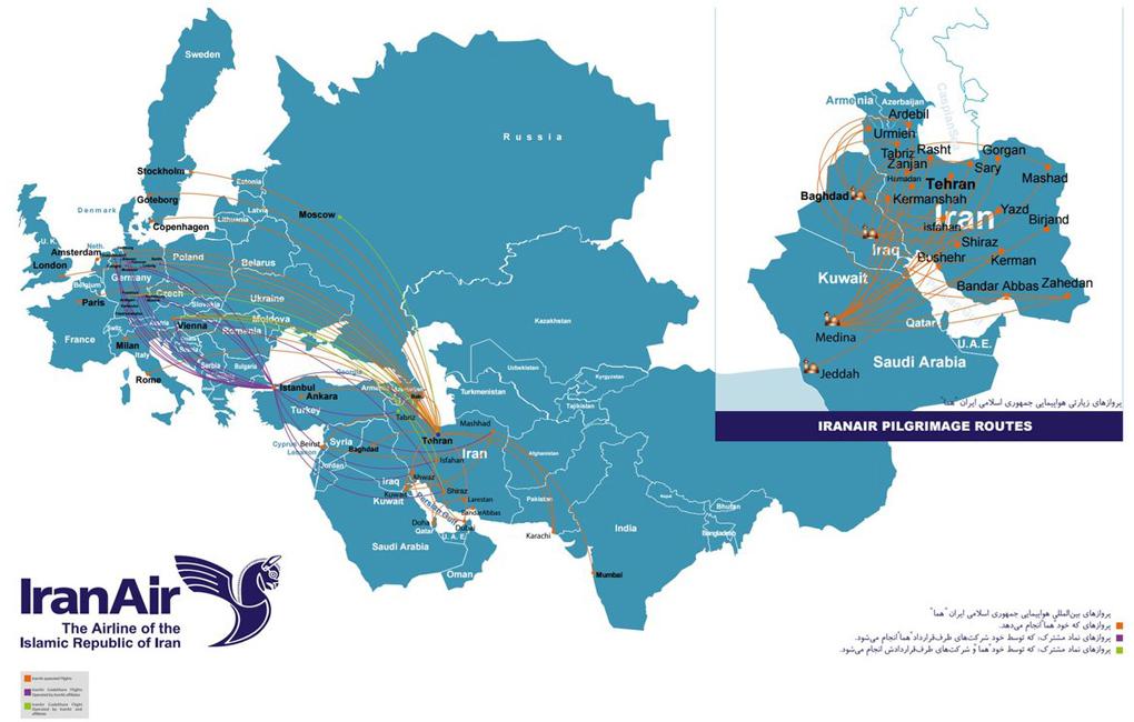مسیرهای پروازهای ایران ایر